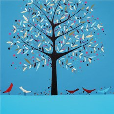 Tree and Three Red Birds