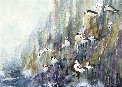 Puffins above the Waves