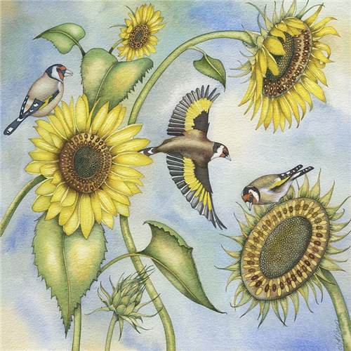 Goldfinches and Sunflowers