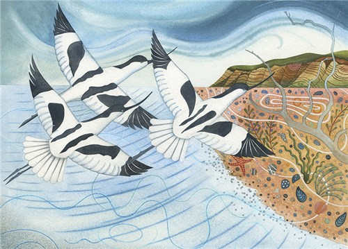 Avocets over the Shore