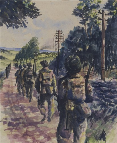 Infantry moving up to Caen