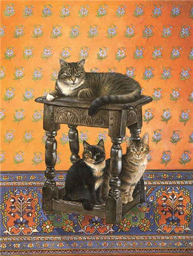 Gemma on the Jacobean stool with Motley & Octopussy