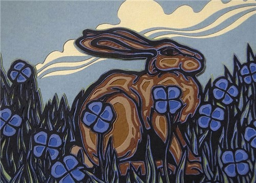 Hare in Blue Meadow