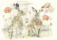 Hares with Poppies