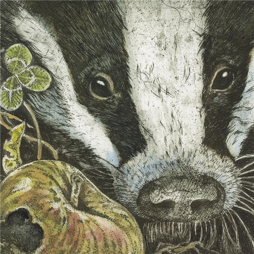 Badger with Apple